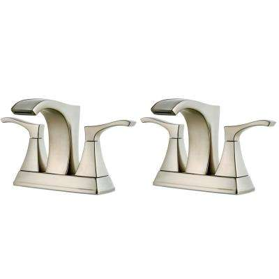 Venturi 4 in. Centerset 2-Handle Bathroom Faucet in Spot Defense Brushed Nickel (2-Pack Combo)