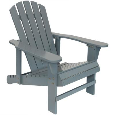 250 lbs. Capacity Gray Wooden Outdoor Adirondack Chair with Adjustable Backrest