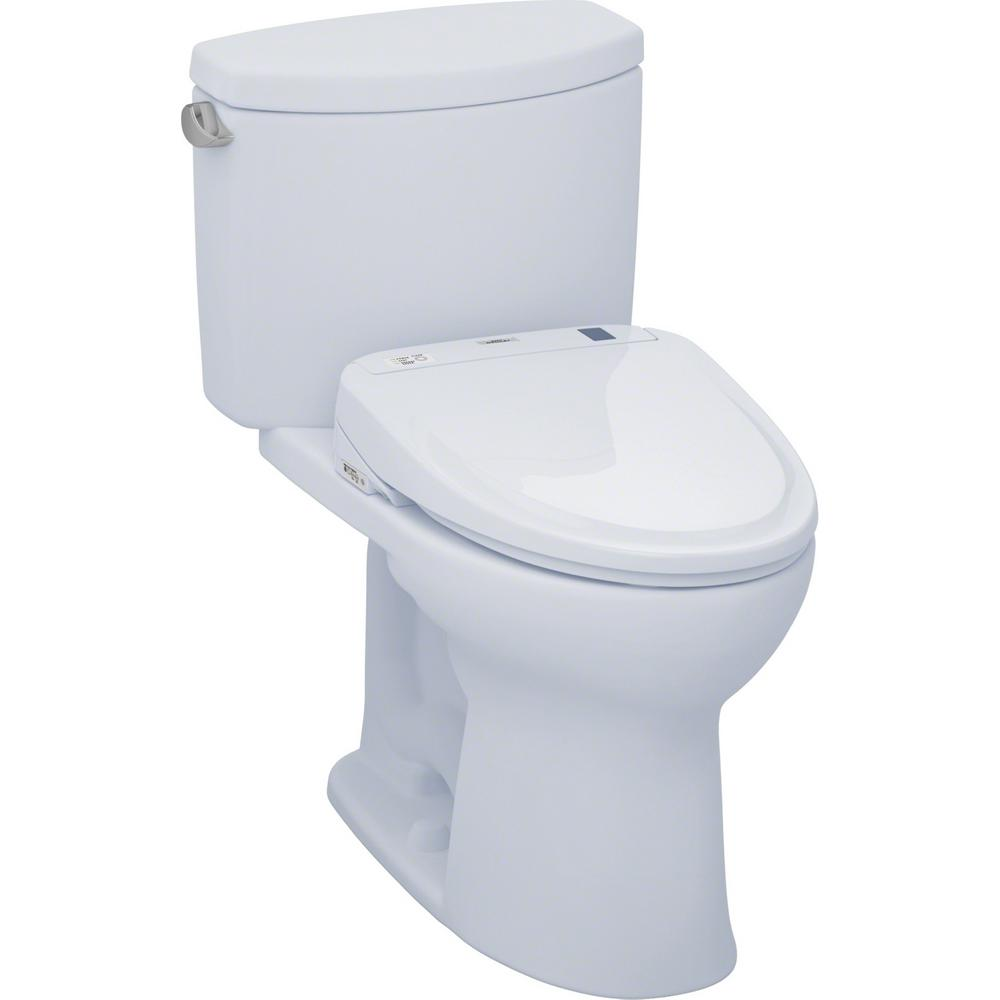 TOTO Drake II Connect 2-Piece 1.28 GPF Elongated Toilet with Washlet S300e Bidet and CeFiONtect in Cotton White