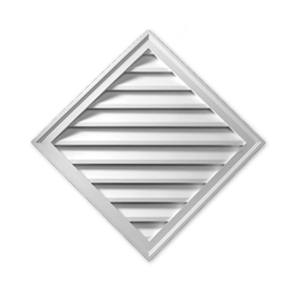 33-15/16 in. x 33-15/16 in. x 1-5/8 in. Polyurethane Decorative Diamond Louver Gable Vent