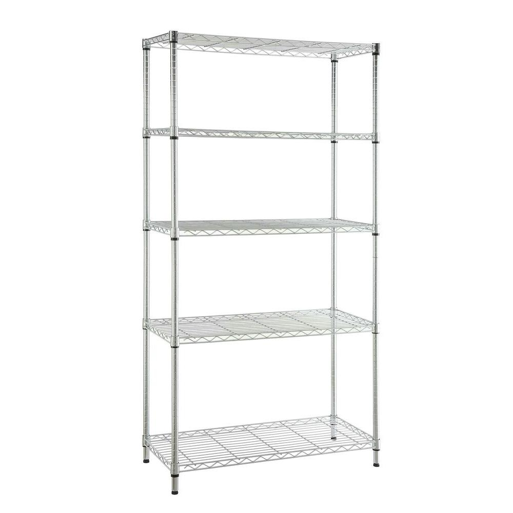 HDX 5-Tier Steel Garage Storage Shelving Unit in Chrome (36 in. W x 72 in. H x 16 in. D)