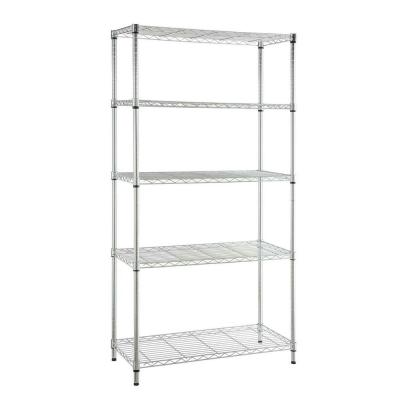 Chrome 5-Tier 5-Tier Metal Wire Shelving Unit (36 in. W x 72 in. H x 16 in. D)