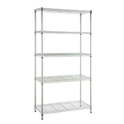 5-Tier Steel Garage Storage Shelving Unit in Chrome (36 in. W x 72 in. H x 16 in. D)