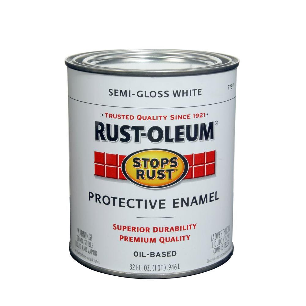 Rust oleum stops rust 1 qt protective enamel semi gloss white interior exterior paint 2 pack for Rustoleum exterior metal paint