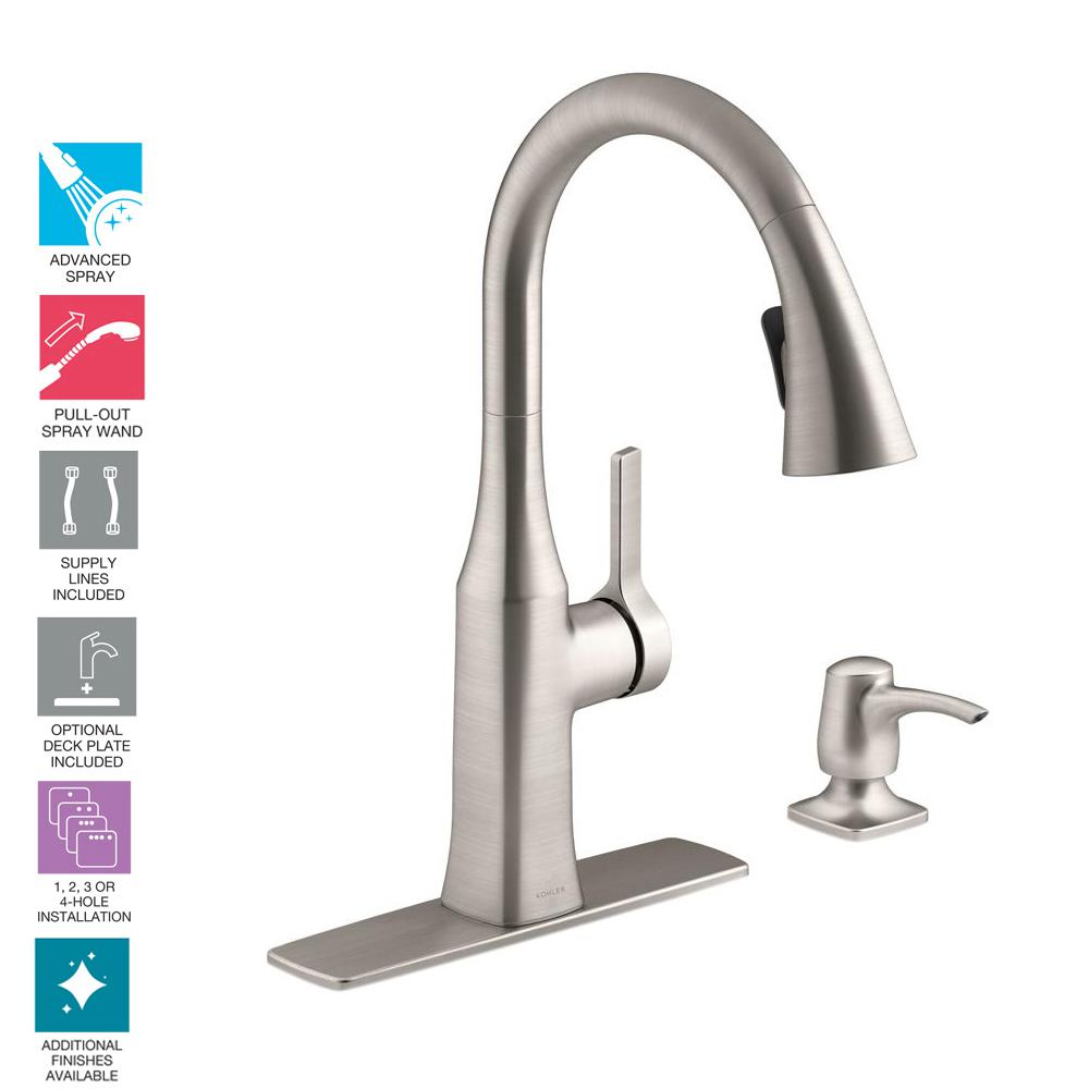 Kohler Rubicon Single Handle Pull Down Sprayer Kitchen Faucet In