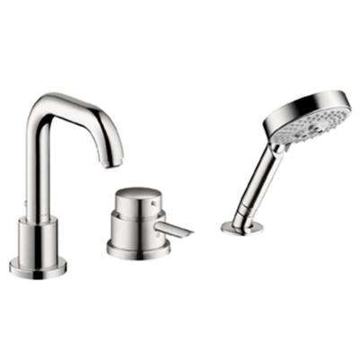 Focus S 1-Handle Non-Deck Plate 3-Hole Thermostatic Roman Tub Filler Trim with Handshower in Chrome (Valve Not Included)