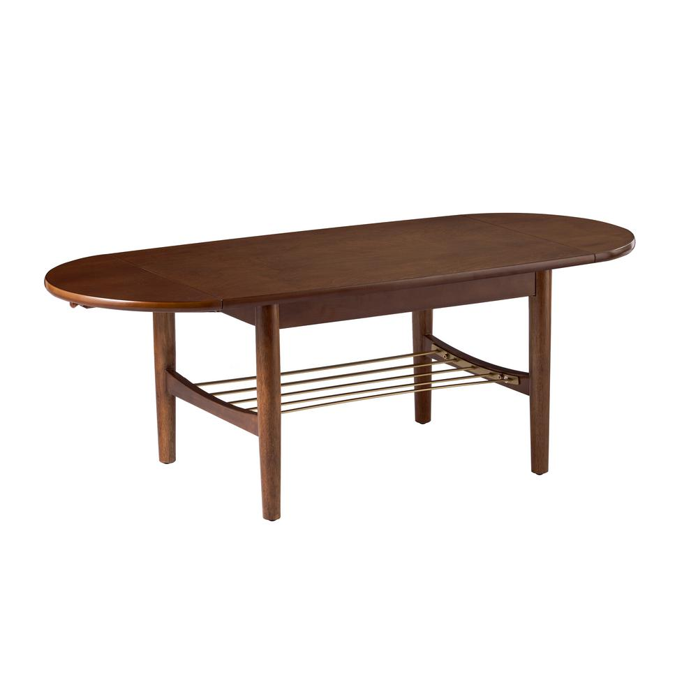 Southern Enterprises Cortlayne 30 In Brown Gold Medium Specialty Wood Coffee Table With Drop Leaves Hd433530 The Home Depot