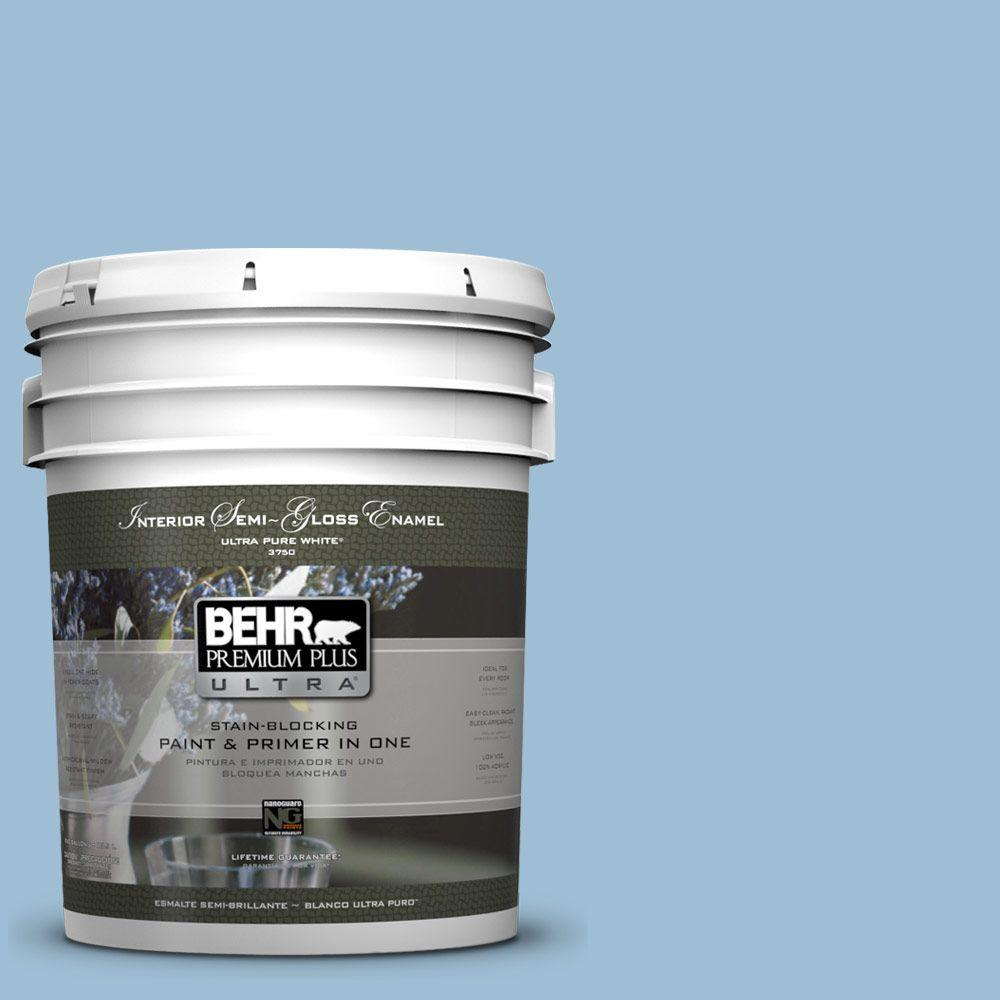 BEHR Premium Plus Ultra 5-gal. #PPU14-11 Gentle Sky Semi-Gloss Enamel Interior Paint