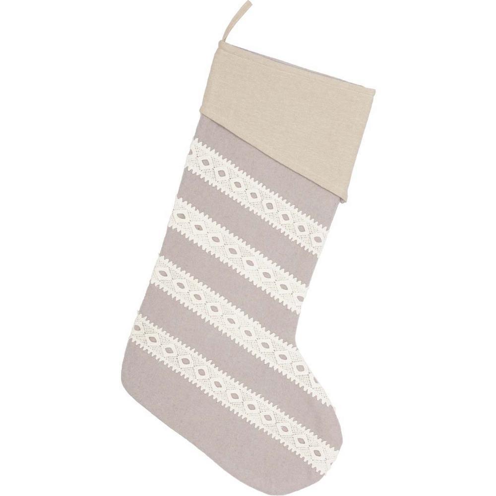20 in. Cotton/Felt Grey Margot Farmhouse Christmas Decor Stocking