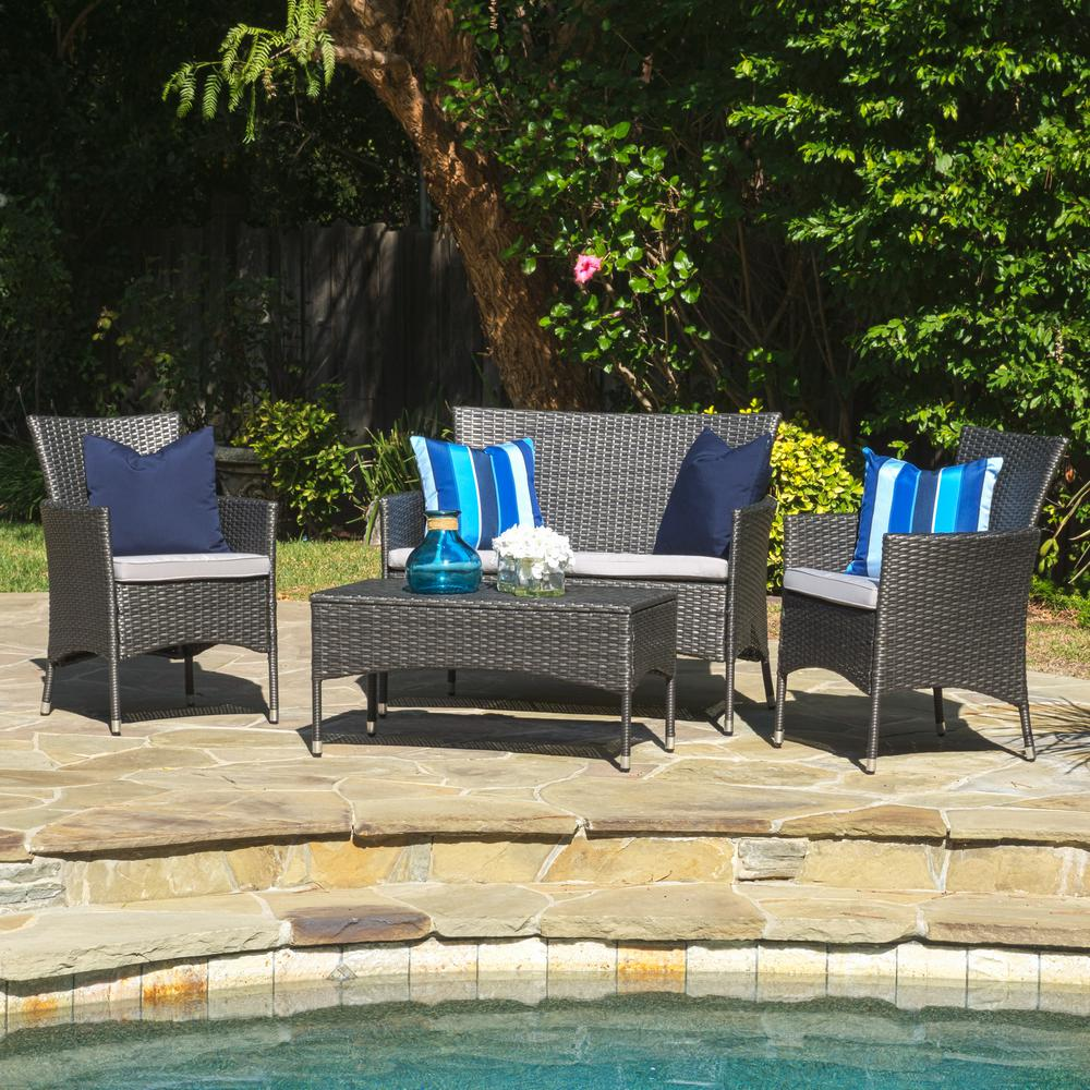 Noble House Malta Grey 4-Piece Wicker Patio Conversation Set with Grey Cushions