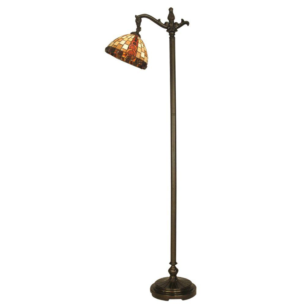 Dale Tiffany Baroque 63-1/4 in. Downbridge Antique Bronze Floor Lamp