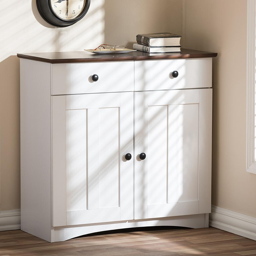 Attirant Baxton Studio Lauren Contemporary 30.42 In. H X 31.2 In. W White Wood Kitchen  Storage Cabinet 28862 6522 HD   The Home Depot