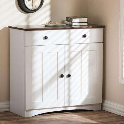 Lauren Contemporary 30.42 in. H x 31.2 in. W White Wood Kitchen Storage Cabinet