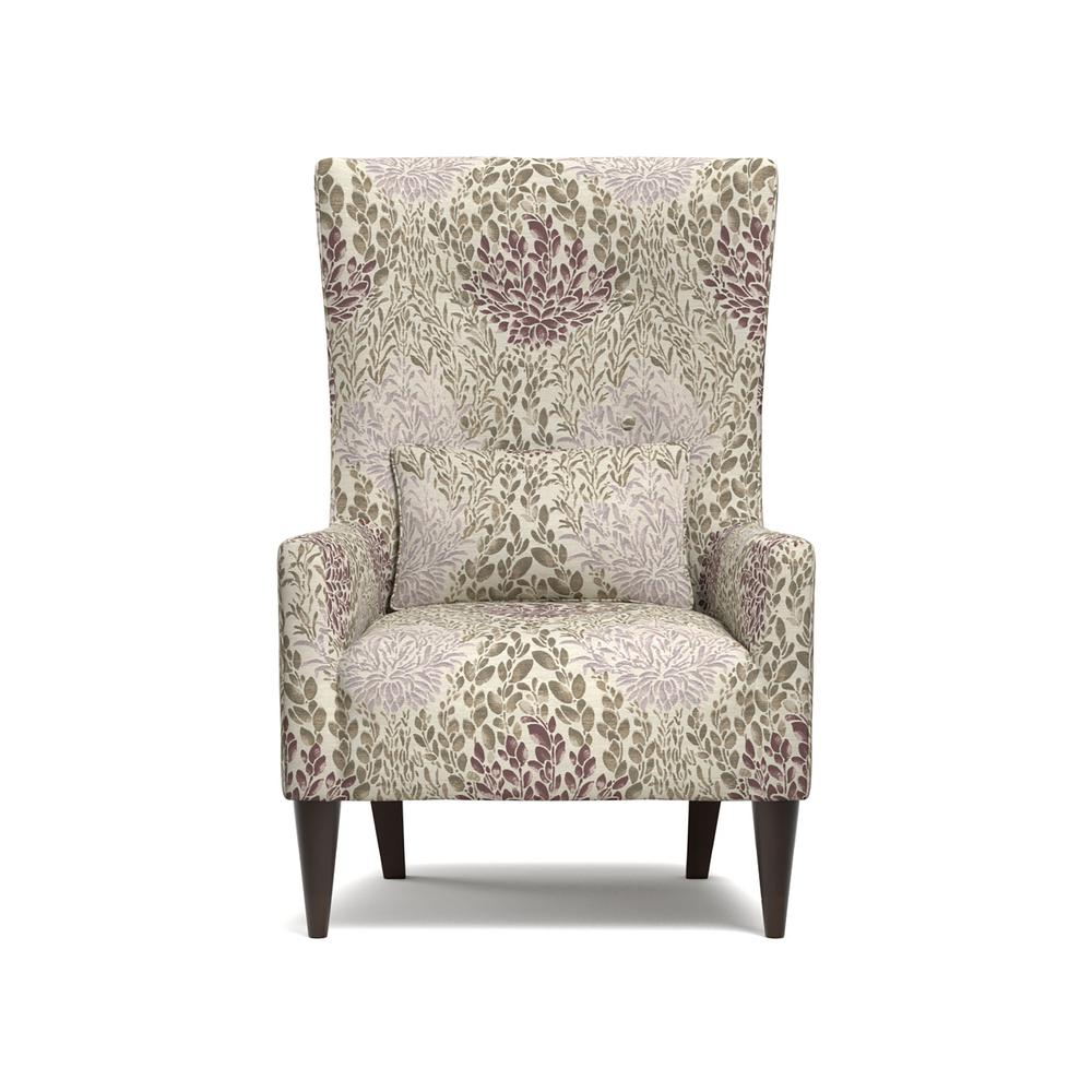 Handy Living Venecia Purple Multi Floral Shelter High Back Wing Chair In