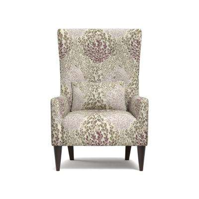 Venecia Purple Multi Floral Shelter High Back Wing Chair in