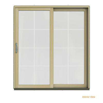 72 in. x 80 in. W-2500 Contemporary Silver Clad Wood Right-Hand 8 Lite Sliding Patio Door w/Unfinished Interior