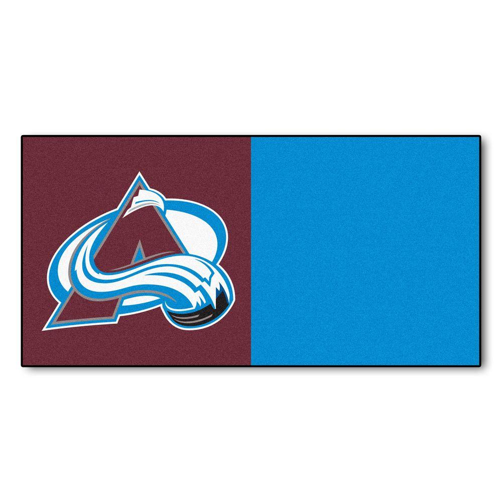 FANMATS NHL - Colorado Avalanche Burgundy and Blue Pattern 18 in. x 18 in. Carpet Tile (20 Tiles/Case)