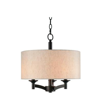 Rutherford 3-Light Bronze Pendant with Taupe Shade