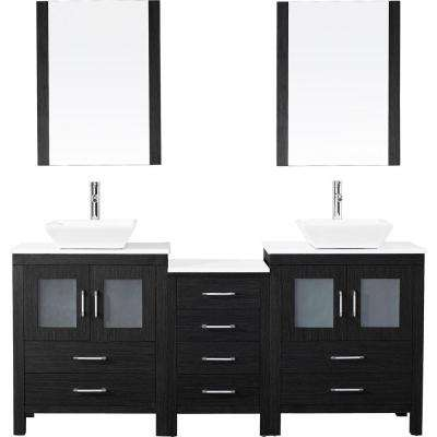 Dior 74 in. W x 18.3 in. D Vanity in Zebra Grey with Stone Vanity Top in White with White Basin and Mirror