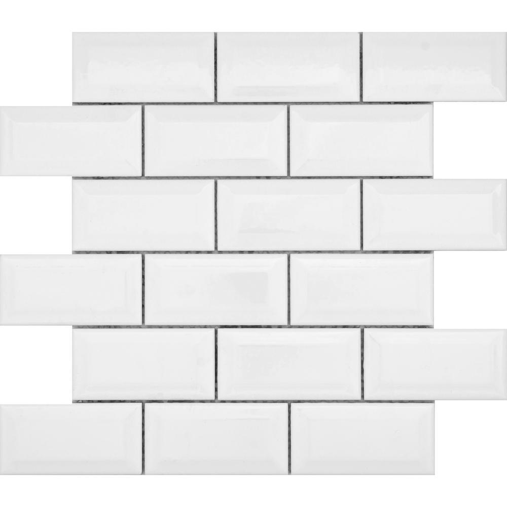 Emser Vogue White Bevel Glossy 12.13 in. x 12.36 in. x 8 mm Ceramic Mesh-Mounted Mosaic Tile (1.04 sq. ft.)