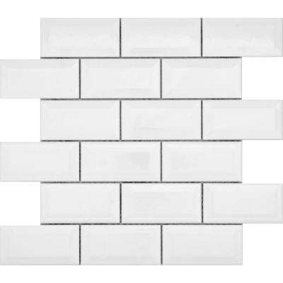 Vogue White Bevel Glossy 12.13 in. x 12.36 in. x 8 mm Ceramic Mesh-Mounted Mosaic Tile (1.04 sq. ft.)