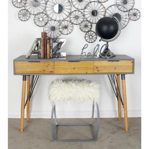Light Brown And Gray Rectangular Wood And Metal 3 Drawer Console