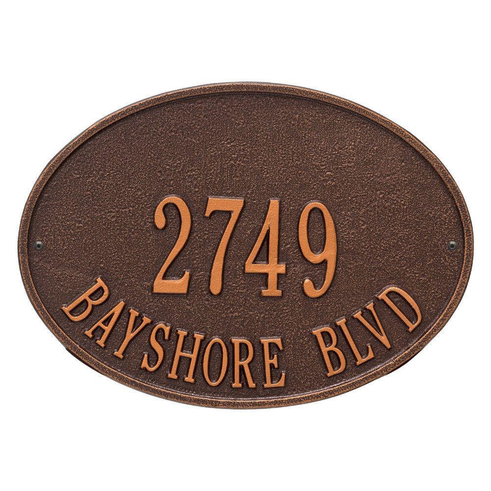 Hawthorne Standard Oval Antique Copper Wall 2-Line Address Plaque