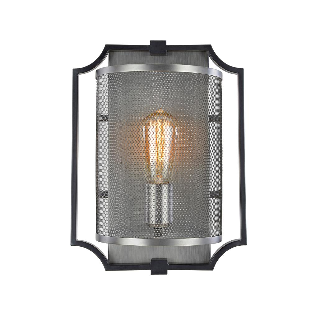 ARTCRAFT Oxford 1-Light Matte Black and Antique Nickel Sconce The  Oxford Collection features a two tone design. The outer frame is matte black, while the interior and mesh components are antique nickel finish.