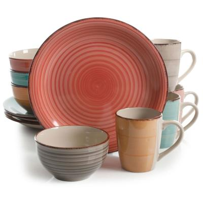 Color Vibes Pastel 12-Piece Assorted Color Stoneware Dinnerware Set