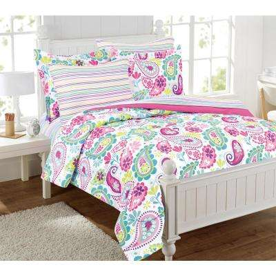 Garden Paisley 8-Piece Pink Twin Bed in a Bag with Extra Sheet Set