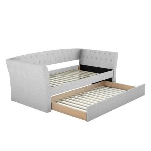 Hester Contemporary Upholstered Cream Linen Twin Size Daybed with Trundle