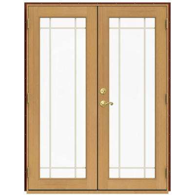 60 in. x 80 in. W-2500 Red Clad Wood Left-Hand 9 Lite French Patio Door w/Stained Interior