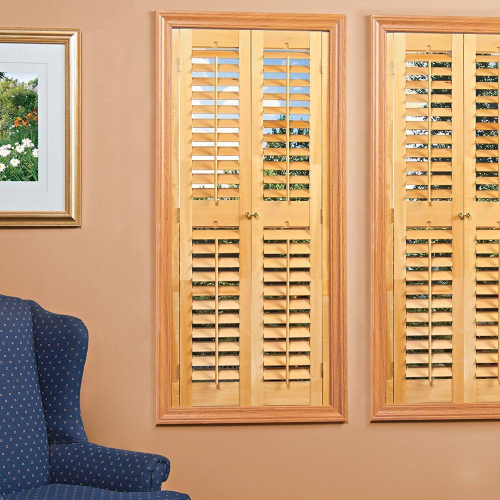 Homebasics plantation light teak real wood interior shutters price varies by size qspd3148 for Interior plantation shutters home depot
