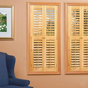 Homebasics Plantation Light Teak Real Wood Interior Shutters Price Varies By Size Qspd3560