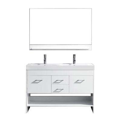 Gloria 48 in. W Bath Vanity in White with Ceramic Vanity Top in White Ceramic with Square Basin and Mirror and Faucet