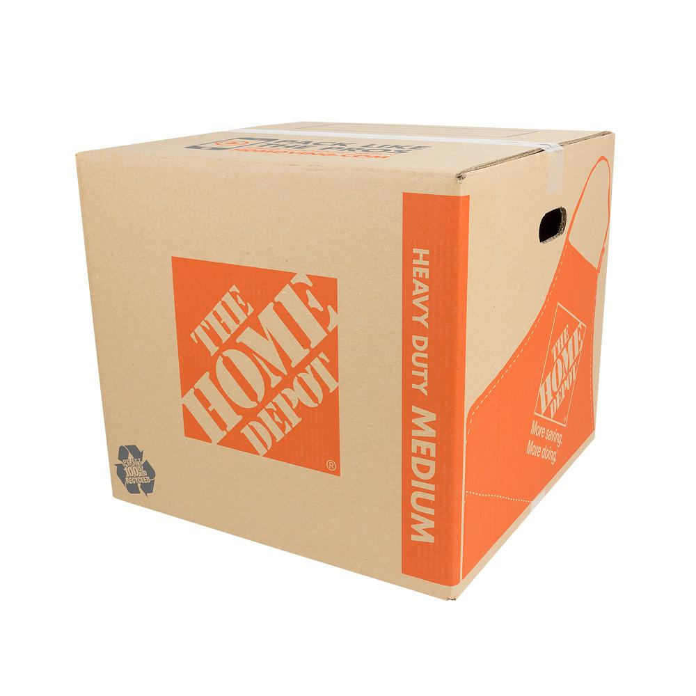 The Home Depot 18 in  L x 18 in  W x 16 in  D Heavy-Duty Medium Moving Box  with Handles