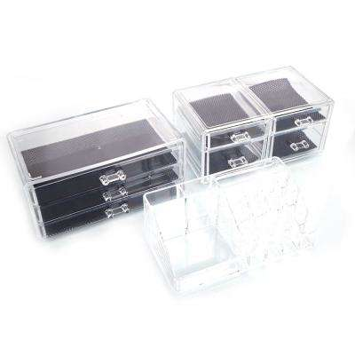 6 in. x 12 in. x 9 in. SF-1122-3 Transparent Plastic Cosmetics Storage Rack 4-Small Drawer and 3-Larger Drawer