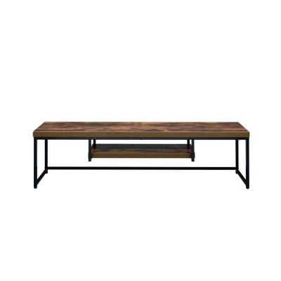 Bob 59 in. Weathered Oak and Black Wood TV Stand Fits TVs Up to 50 in. with Open Storage