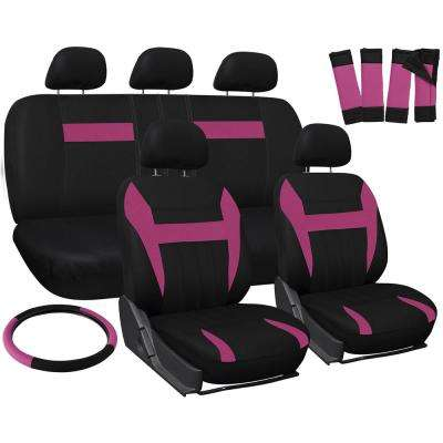 Polyester Seat Covers Set 26 in. L x 21 in. W x 48 in. H 17-Piece Seat Cover Set Pink and Black