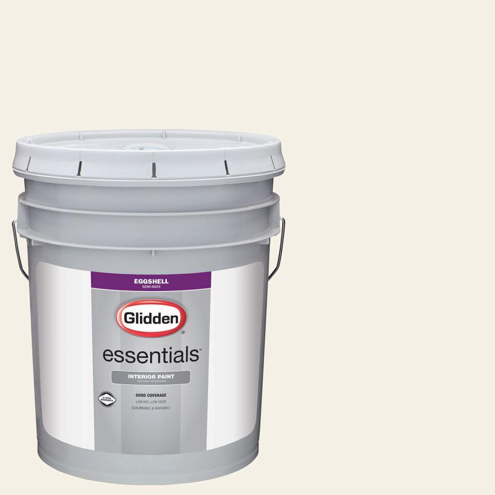 5 gal. #HDGWN43 Crisp Linen White Eggshell Interior Paint