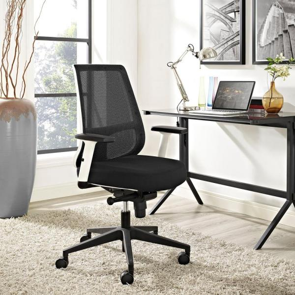 MODWAY Pump White Frame Fabric Office Chair in Black EEI-2216-BLK