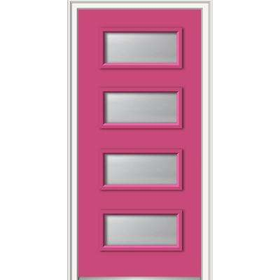 32 in. x 80 in. Celeste Low-E Glass Right-Hand Inswing 4-Lite Clear Painted Steel Prehung Front Door