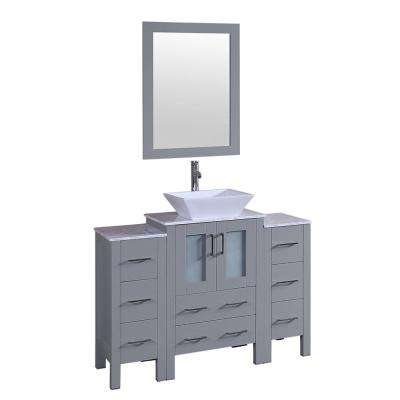 48 in. W Single Bath Vanity with Carrara Marble Vanity Top in Gray with White Basin, Polished Chrome Faucet and Mirror