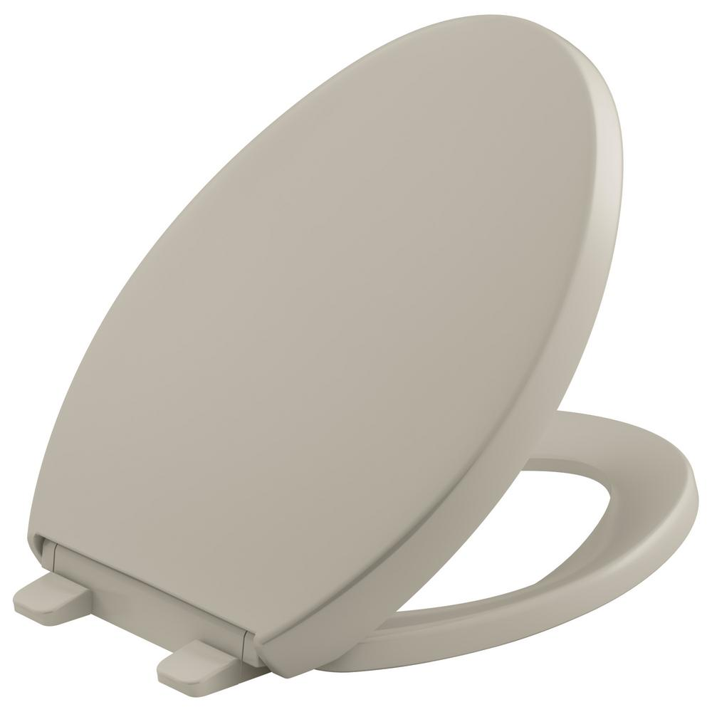 KOHLER Grip Tight Reveal Q3 Elongated Closed Front Toilet Seat in ...