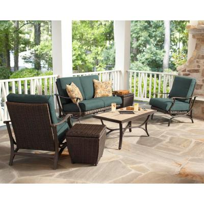 Pembrey Aluminum Outdoor Lounge Chair with Peacock Java Cushions (2-Pack)