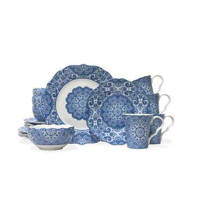 Lyria Blue 16-Piece Dinnerware Set