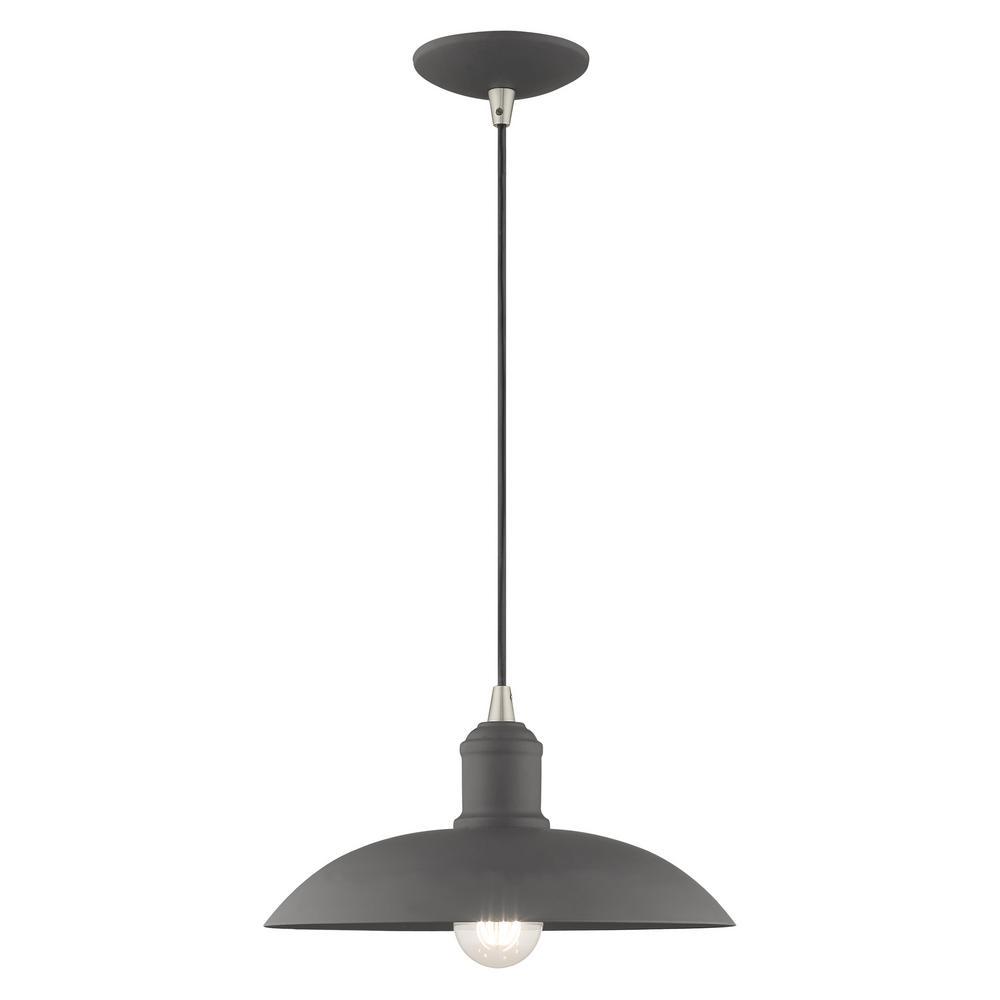Livex Lighting 1 Light Scandinavian Gray Mini Pendant