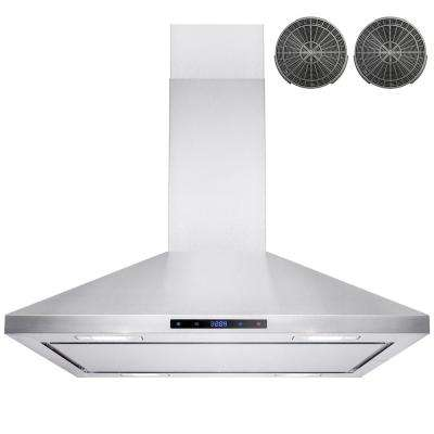 36 in. Convertible Kitchen Island Mount Range Hood in Stainless Steel with LEDs, Touch Control and Carbon Filter