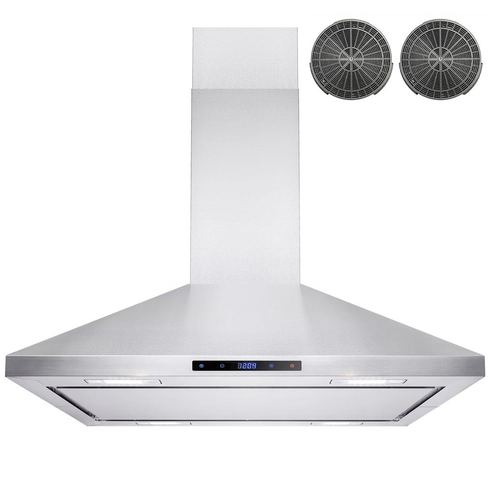 AKDY 36 in. Convertible Kitchen Island Mount Range Hood in Stainless ...