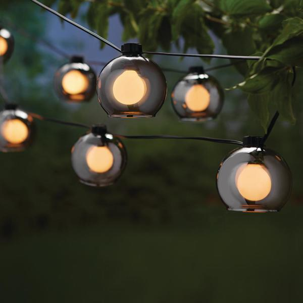 Outdoor/Indoor 10 ft. Plug-In Incandescent G Type Bulb String Light with 8-Smoky Glass Shades